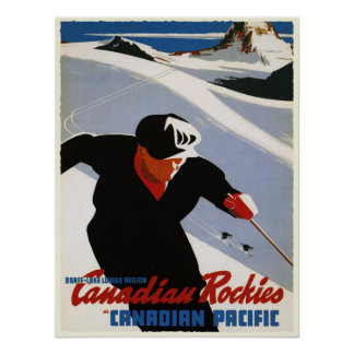 Poster with Canadian Rockies Ski Print