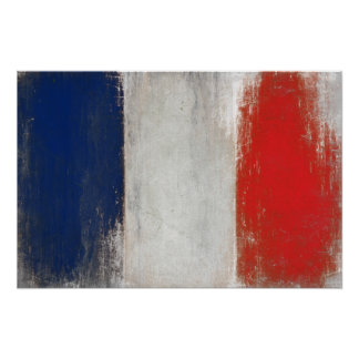 Poster with Dirty Vintage French Flag