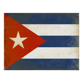 Poster with Distressed Vintage Flag from Cuba