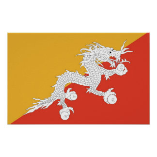 Poster with Flag of Bhutan