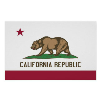 Poster with Flag of California U S A