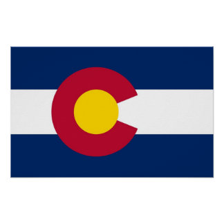 Poster with Flag of Colorado, U.S.A.