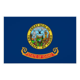 Poster with Flag of Idaho, U.S.A.