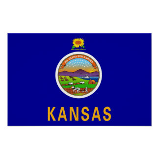 Poster with Flag of Kansas, U.S.A.