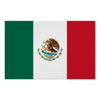 Poster with Flag of Mexico