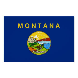 Poster with Flag of Montana, U.S.A.
