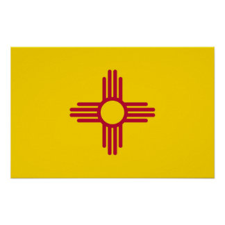 Poster with Flag of New Mexico, U.S.A.