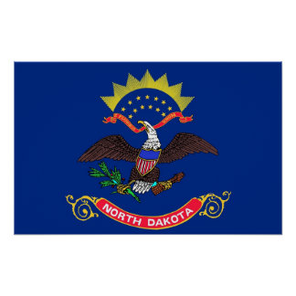 Poster with Flag of North Dakota, U.S.A.