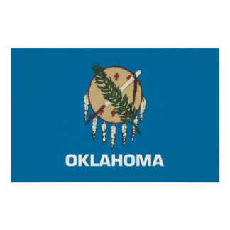 Poster with Flag of Oklahoma, U.S.A.