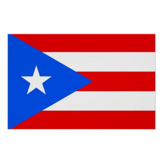 Poster with Flag of Puerto Rico, U.S.A.