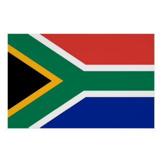 Poster with Flag of South Africa