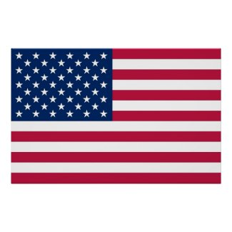 Poster with Flag of United States of America
