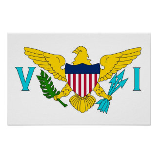 Poster with Flag of Virgin Islands, U.S.A.