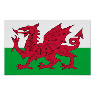 Poster with Flag of Wales