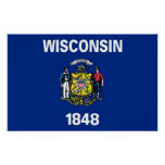 Poster with Flag of Wisconsin, U.S.A.