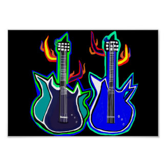 poster with hand painted guitars
