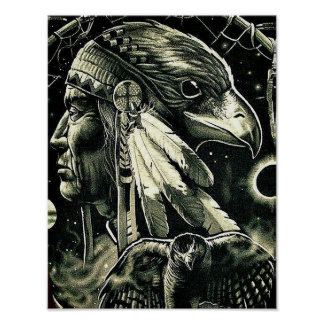Poster with Painting of Native American
