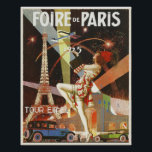 """Poster with Paris Art Deco Print from The 1920's<br><div class=""""desc"""">Poster with French vintage art deco poster print from the 1920's advertising Paris Fair, """"Foire de Paris"""". Truly chic and in art deco style with the Eiffel Tower during the night in the background. Please, let us know if you want some changes made that would please you. We are happy...</div>"""