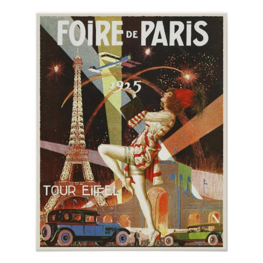poster with paris art deco print from the 1920 39 s. Black Bedroom Furniture Sets. Home Design Ideas