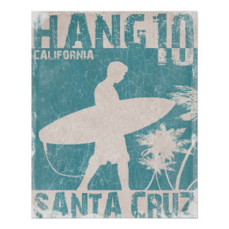 Poster with Santa Cruz Surfer Print