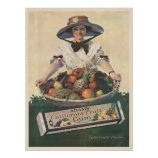 Poster with Vintage California Fruit Lady