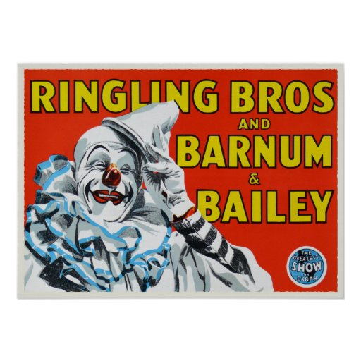 Poster with Vintage Circus Clown Print