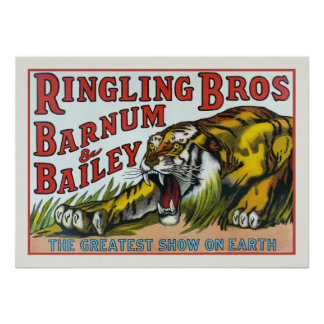 Poster with Vintage Circus Tiger Print