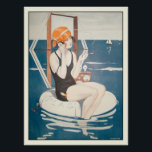 """Poster with Vintage French Summer Illustration<br><div class=""""desc"""">Poster with vintage illustration for La Vie Parisienne, by Jaques around 1923. This version with inner black frame. Please, let us know if you want some changes made that would please you. We are happy to help out if you need any changes to the layout such as colors, tone, size...</div>"""