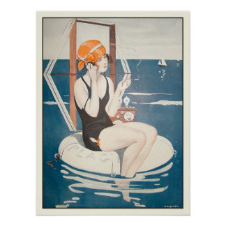 Poster with Vintage French Summer Illustration