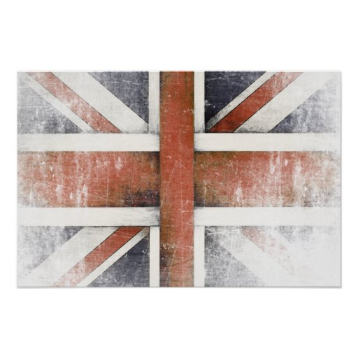Poster with Vintage Great Britain Flag