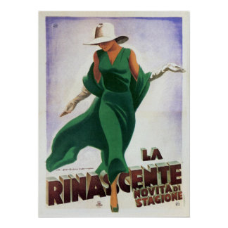 Poster with Vintage Italian Fashion Print