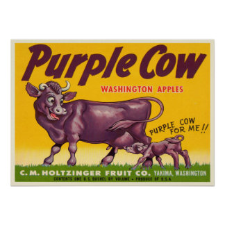 Poster with Vintage Purple Cow Apples Print