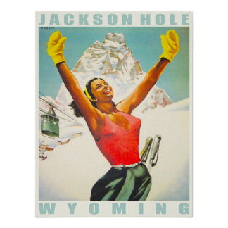 Poster with Vintage Ski Print from Aspen