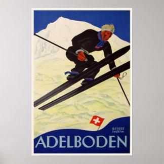 Poster with Vintage Ski Resort Print