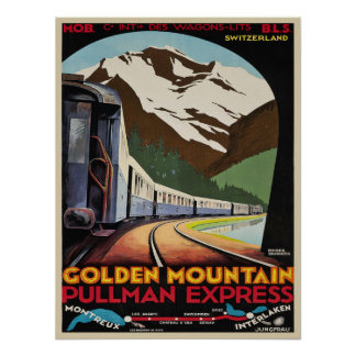 Poster with Vintage Ski Resorts Print