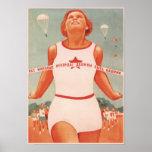 Poster with Vintage Soviet Union Propaganda