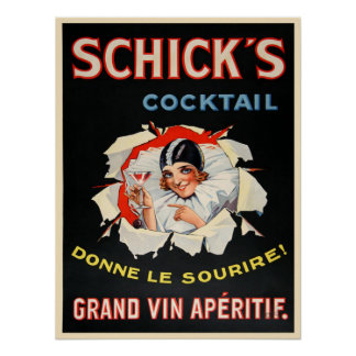 Poster with Vintage Wine Advertising Print