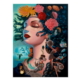 """Poster """"Woman flowers """""""