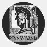 Poster WPA 1938 del carbón de Pennsylvania Pegatina Redonda