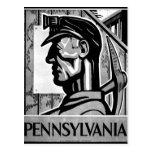 Poster WPA 1938 del carbón de Pennsylvania Tarjetas Postales