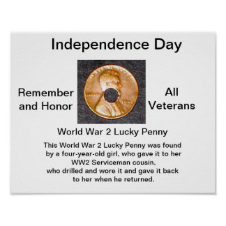 Poster WW2 Lucky Penny Support Veterans