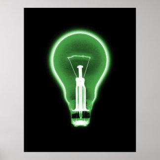 Poster- X-RAY LIGHT BULB BLACK GREEN Poster