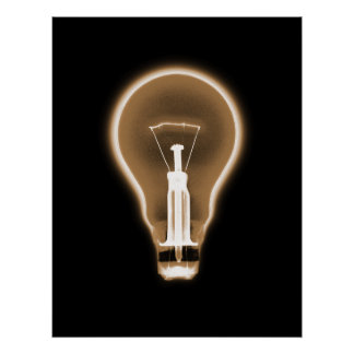 Poster- X-RAY LIGHT BULB BLACK ORANGE Poster