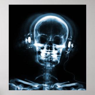 POSTER- X-RAY MUSIC SKELETON BLACK BLUE POSTER