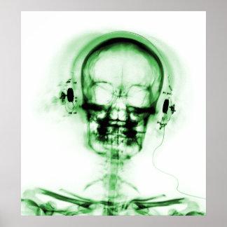 POSTER- X-RAY MUSIC SKELETON WHITE GREEN POSTER