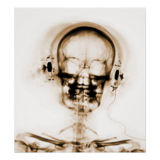 POSTER- X-RAY MUSIC SKELETON WHITE ORANGE POSTER