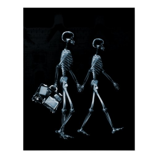 Poster X-Ray Skeleton Couple Traveling Black Blue