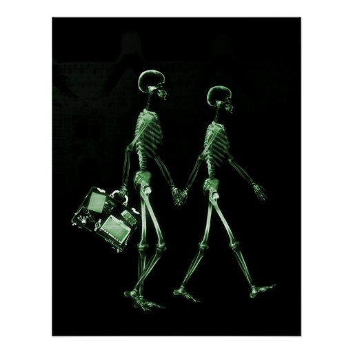 Poster- X-Ray Skeleton Couple Traveling Blk Green Poster