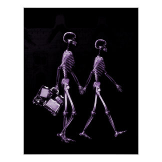 Poster- X-Ray Skeleton Couple Traveling Blk Purp Poster