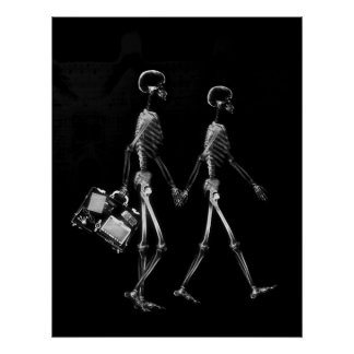 Poster - X-Ray Skeleton Couple Traveling Blk Wht